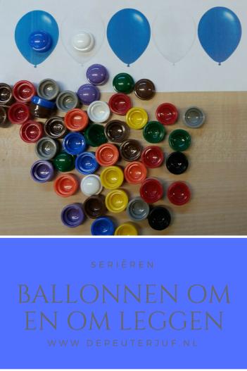 Nodig: Print met verschillende kleuren ballonnen, kleurdopjes