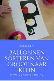Nodig: Ballonnen geprint op drie verschillende groottes, kleurdopjes