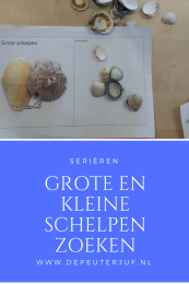 Nodig: Geprint een grote en een kleine schelp, verzameling echte schelpen