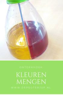 Nodig: Een mengfles (o.a. bij Credu te koop) en 2 kleuren gekleurd water
