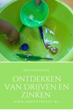 Nodig: Afwasteiltjes, water en spullen die drijven of juist niet drijven
