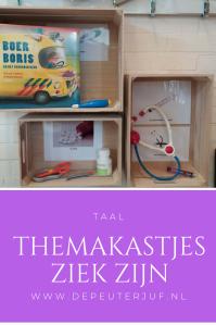 Nodig: Een kastje (of een klein tafeltje), voorwerpen die verband hebben met het thema of met de themawoorden