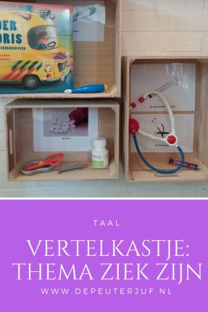 Nodig: Kastje (of klein tafeltje), voorwerpen die verband hebben met het thema of de themawoorden