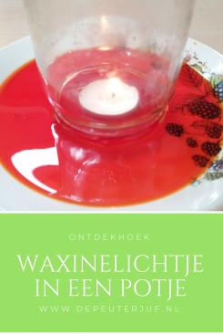 Nodig: Waxinelichtje, glazenpotje, gekleurd water en plat bord met kleine opstaande rand en lucifer