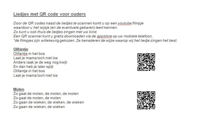 QR codes liedjes beeldscherm