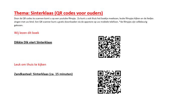 QR codes sinterklaas beeldscherm